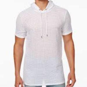 GUESS Men's Short Sleeve Alder Mesh Hoody, White